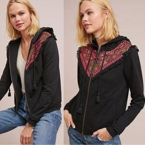 Anthro Akemi Kin Black Embroidered Zip Hoodie